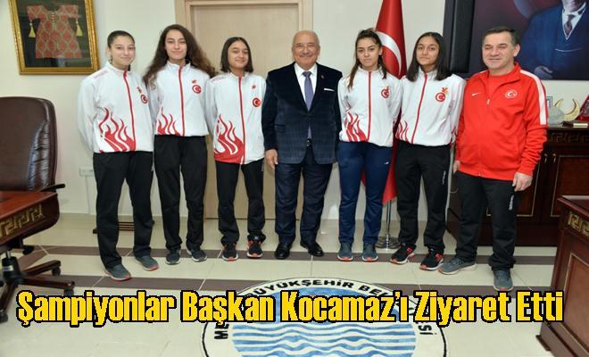 Şampiyonlar Başkan Kocamaz'ı Ziyaret Etti