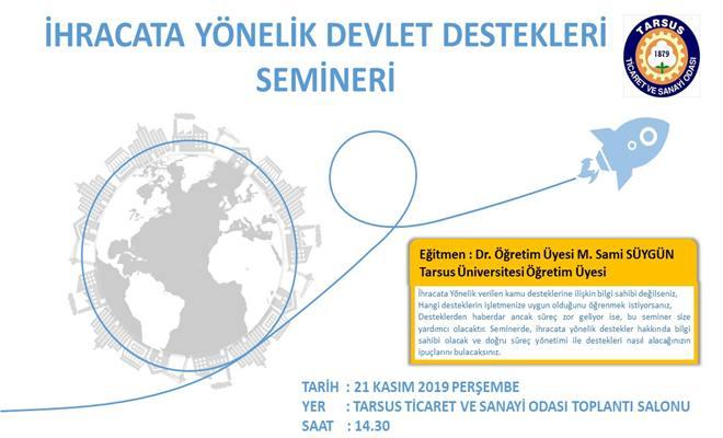 Tarsus TSO'da İhracat Destekleri Semineri Düzenlenecek