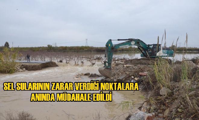 Büyükşehir, Sel Sularının Zarar Verdiği Noktalara Anında Müdahale Etti