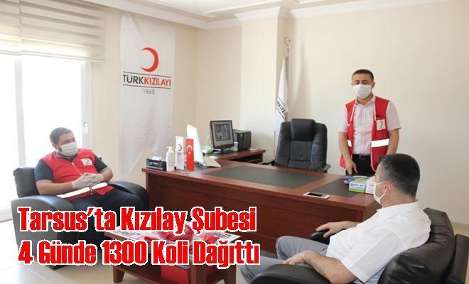 Tarsus'ta Kızılay Şubesi 4 Günde 1300 Koli Dağıttı