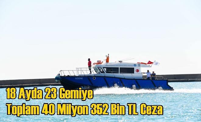 18 Ayda 23 Gemiye Toplam 40 Milyon 352 Bin TL Ceza