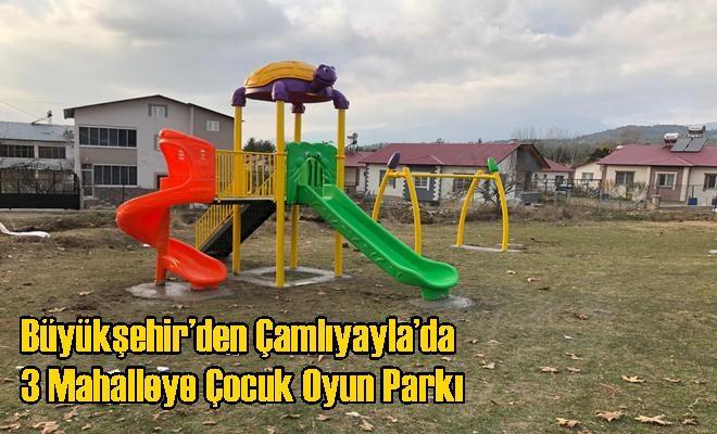 Büyükşehir'den Çamlıyayla'da 3 Mahalleye Çocuk Oyun Parkı