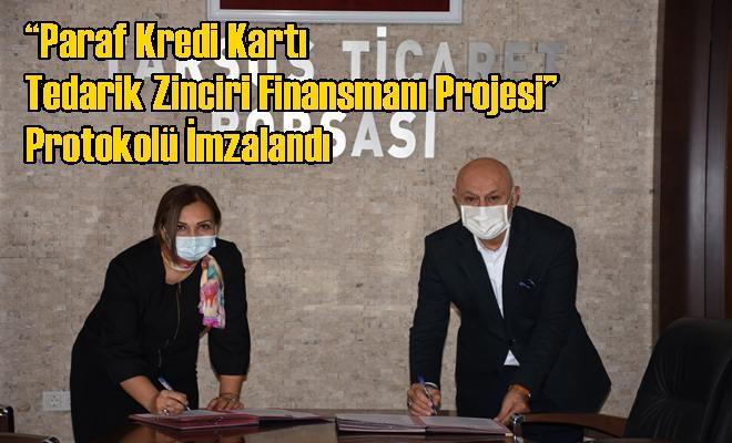 """Tarsus Ticaret Borsası ile Halkbank Tarsus Şubesi Arasında """"Paraf Kredi Kartı Tedarik Zinciri Finansmanı Projesi"""" Protokolü İmzalandı"""